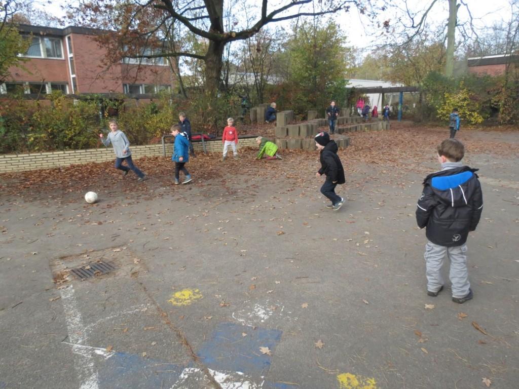 fünf Fußballfelder mit kleinen Toren