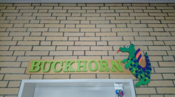 Klasse 2a überreicht neues Buckhorn-Türschild
